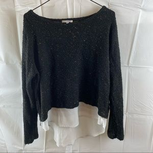 Valleygirl Black Knit Long Sleeve Sweater Top Size